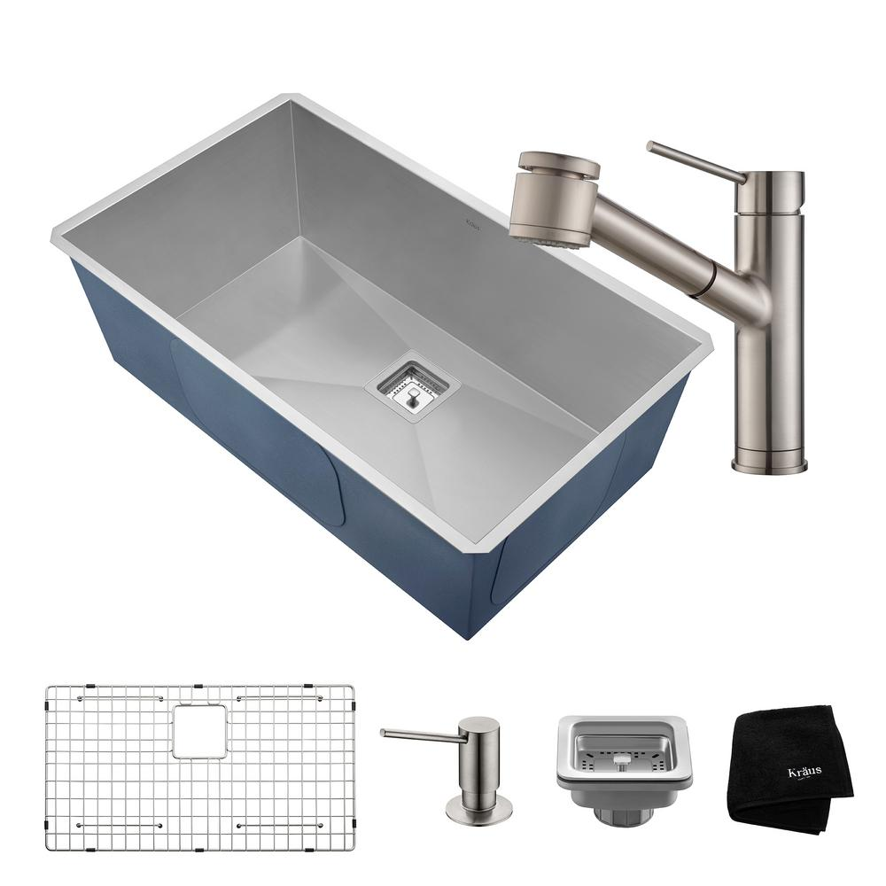 KRAUS Pax All In One Undermount Stainless Steel 32 In. Single Bowl Kitchen