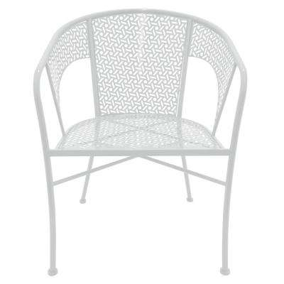 32.5 in. White Metal Chair