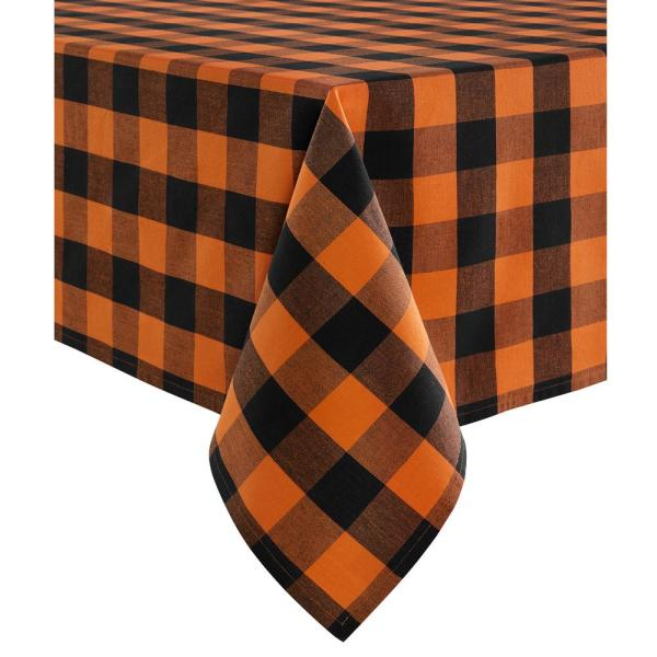Farmhouse Living Fall Buffalo Check 60 in. W x 84 in. L Black/Orange Tablecloth