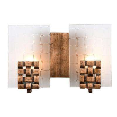 Dreamweaver 2-Light Blackened Copper Wall Bath Vanity Light with Frosted Glass