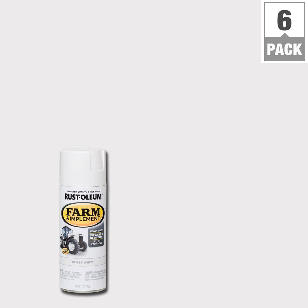 Rust-Oleum 12 oz. Farm Equipment Gloss White Enamel Spray Paint (6-Pack)