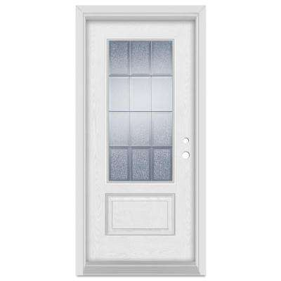 36 in. x 80 in. Geometric Left-Hand 3/4 Lite Zinc Finished Fiberglass Oak Woodgrain Prehung Front Door Brickmould