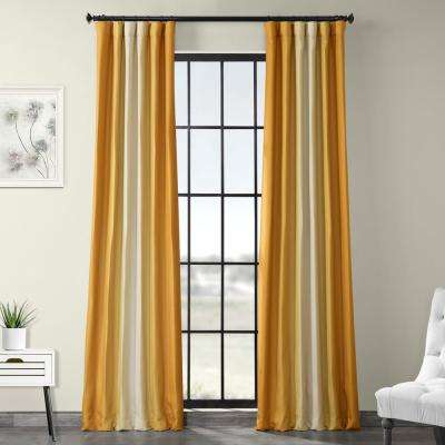 Parallel Gold Printed Linen Textured Blackout Curtain - 50 in. W x 120 in. L (1-Panel)