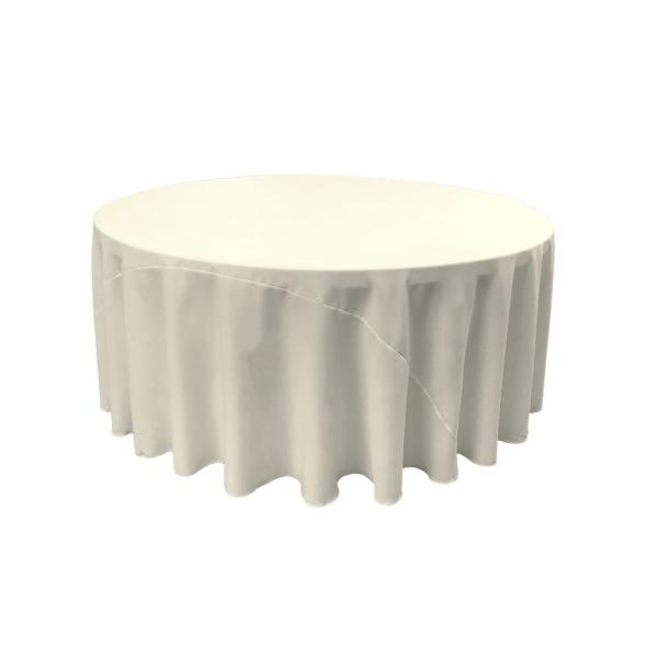 LA Linen 108 in. Ivory Polyester Poplin Round Tablecloth TCpop108R_IvoryP25