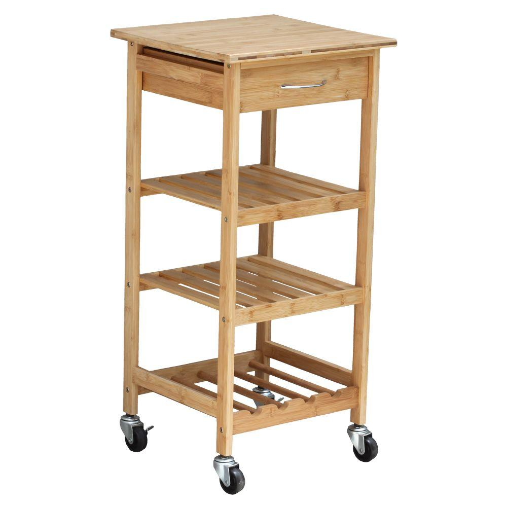 Oceanstar Bamboo Kitchen Cart With Wine Rack-BKC1378 - The Home Depot