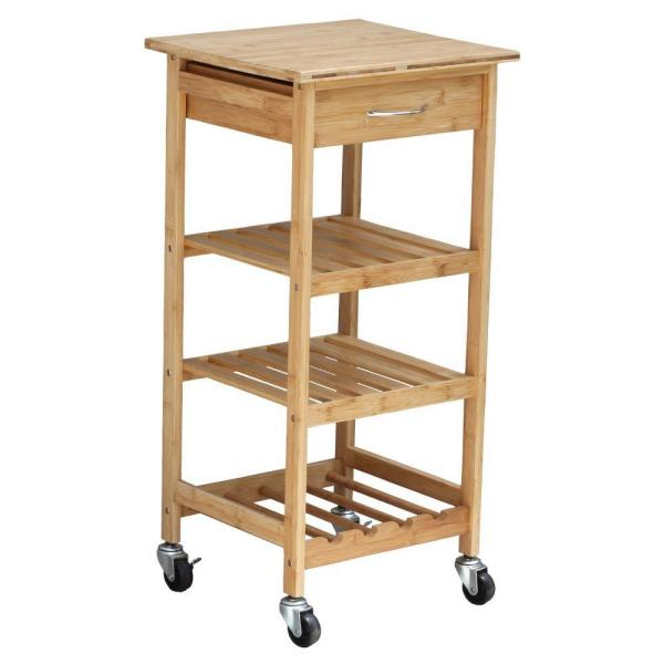 Oceanstar Bamboo Kitchen Cart With Wine Rack BKC1378 - The Home Depot