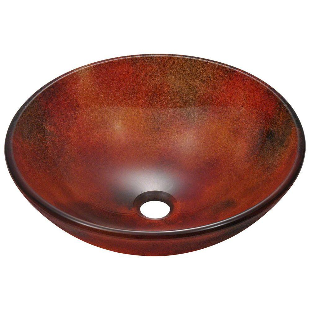 Polaris Glass Vessel Sink in Multi-Color Frost, Red/Yello...