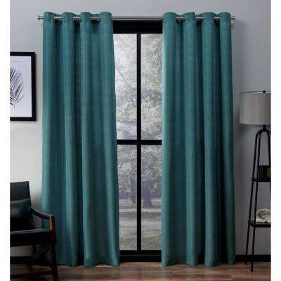 Virenze 54 in. W x 108 in. L Faux Silk Grommet Top Curtain Panel in Teal (2 Panels)