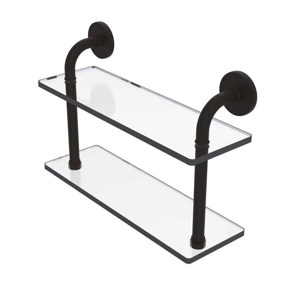 Remi Collection 16 in. 2-Tiered Glass Shelf in Oil Rubbed Bronze