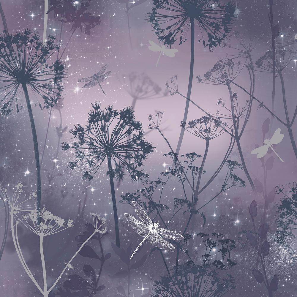 Damselfly Purple Wallpaper by Arthouse