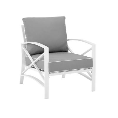 Kaplan White Metal Outdoor Lounge Chair with Grey Cushions