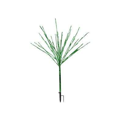 39 in. Silver Taped Bush Lighting Decor with Green LED Lights