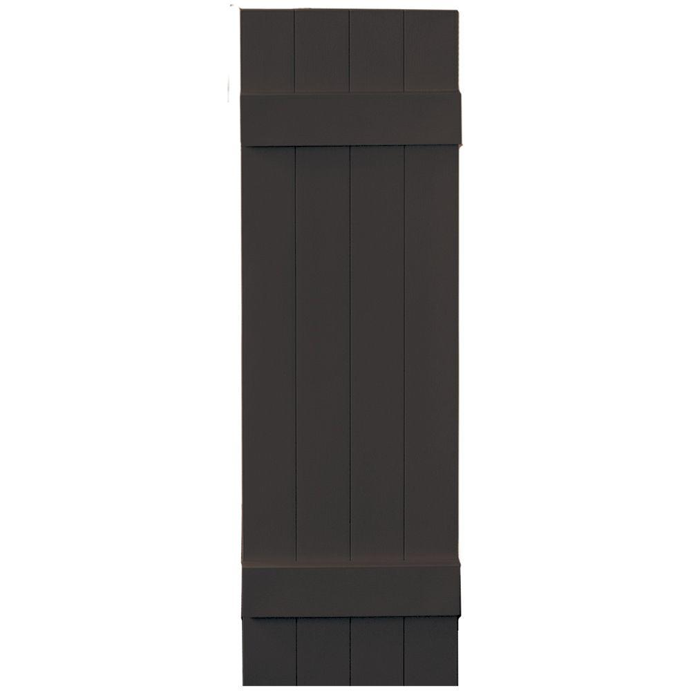 Builders Edge 14 in. x 47 in. Board-N-Batten Shutters Pair, 4 Boards Joined # 010 Musket Brown