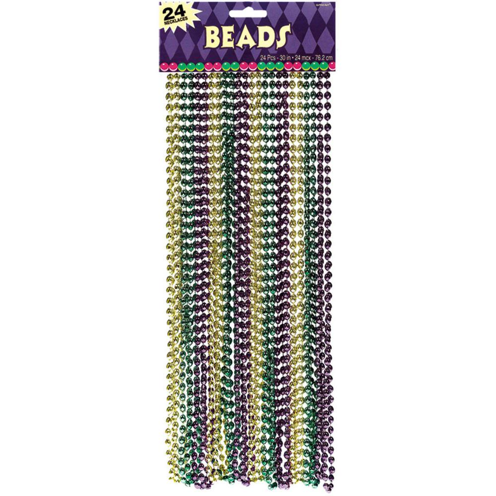Amscan Green Purple And Gold Plastic Mardi Gras Bead Necklaces 24 Count