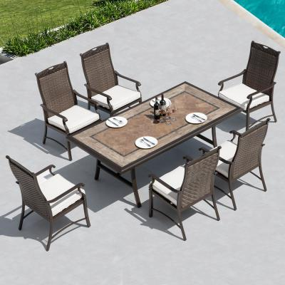 Russell Dark Grey 7-Piece Wicker Outdoor Dining Set with Creamy White Cushions