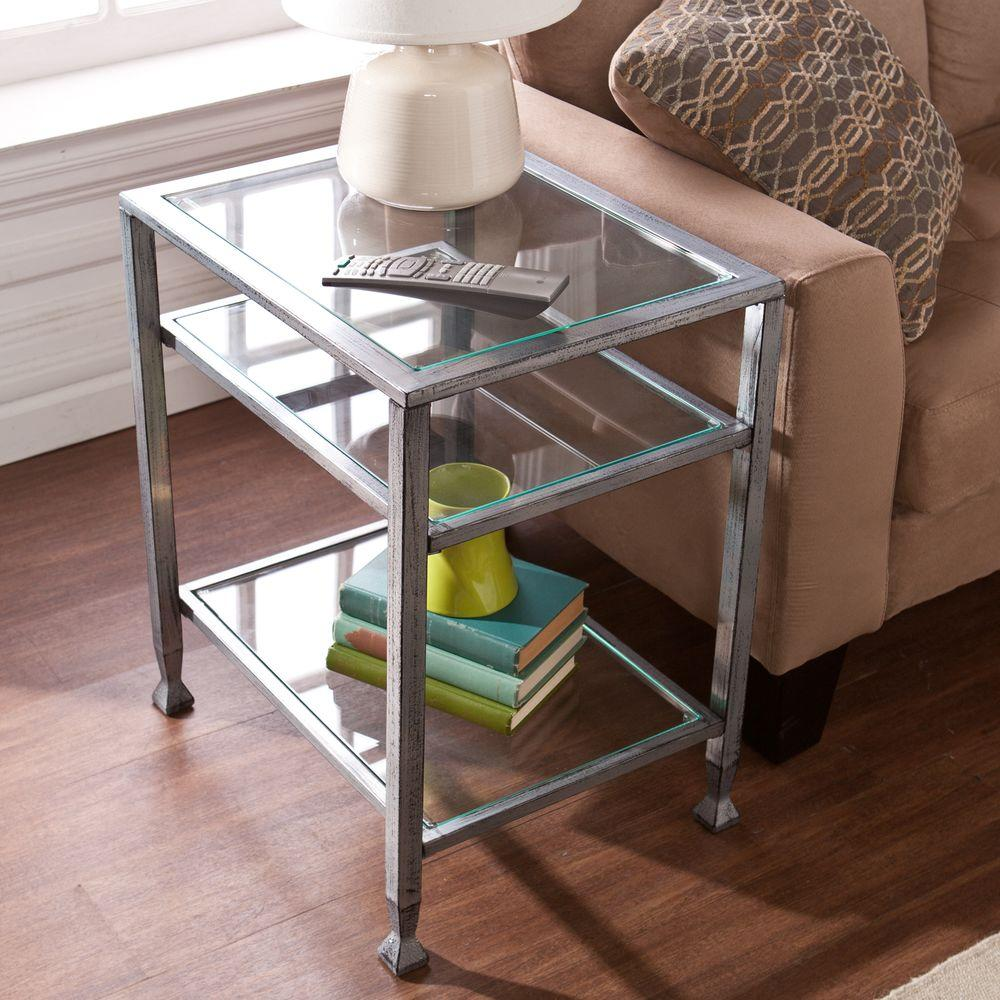 Southern Enterprises Silver and Black Glass Top End Table HD