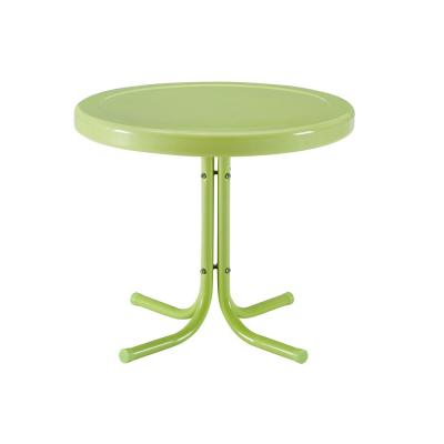 Retro Metal Key Lime Round Metal Outdoor Side Table