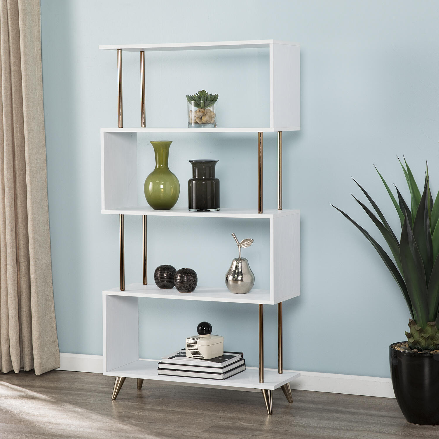 Southern Enterprises Ellan and Champagne Asymmetrical Etagere