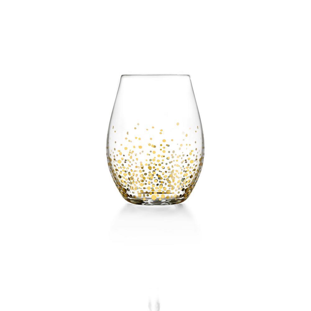 20 fl. oz. Gold Luster Stemless Wine Glasses (4-Pack)