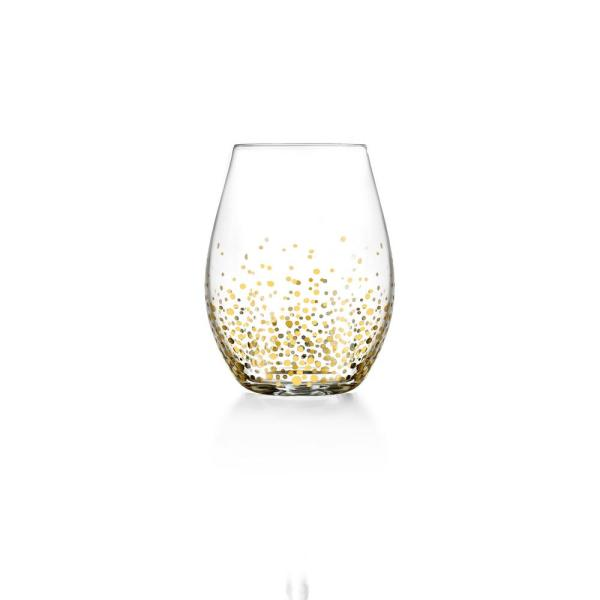 FITZ and FLOYD 20 fl. oz. Gold Luster Stemless Wine Glasses