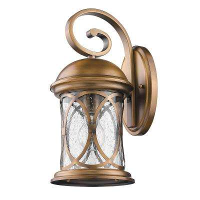 Lincoln 1-Light Antique Brass Outdoor Wall Mount Lantern