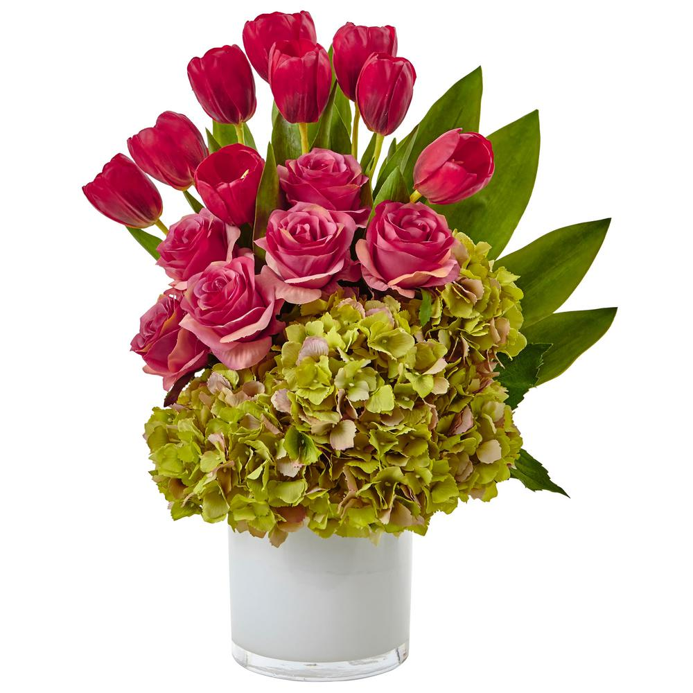 Nearly Natural Tulip Roses And Hydrangea Silk Arrangement
