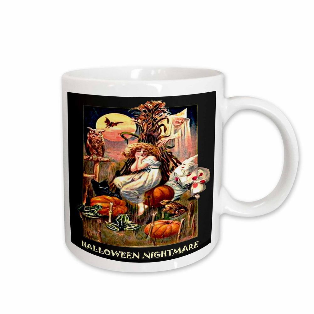 Sandy Mertens Vintage Halloween Designs 11 oz. White Ceramic Vintage Halloween Nightmare Mug