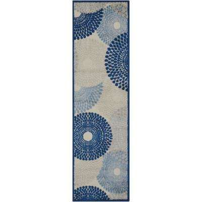 Graphic Illusions Ivory/Blue 2 ft. x 8 ft. Runner Rug