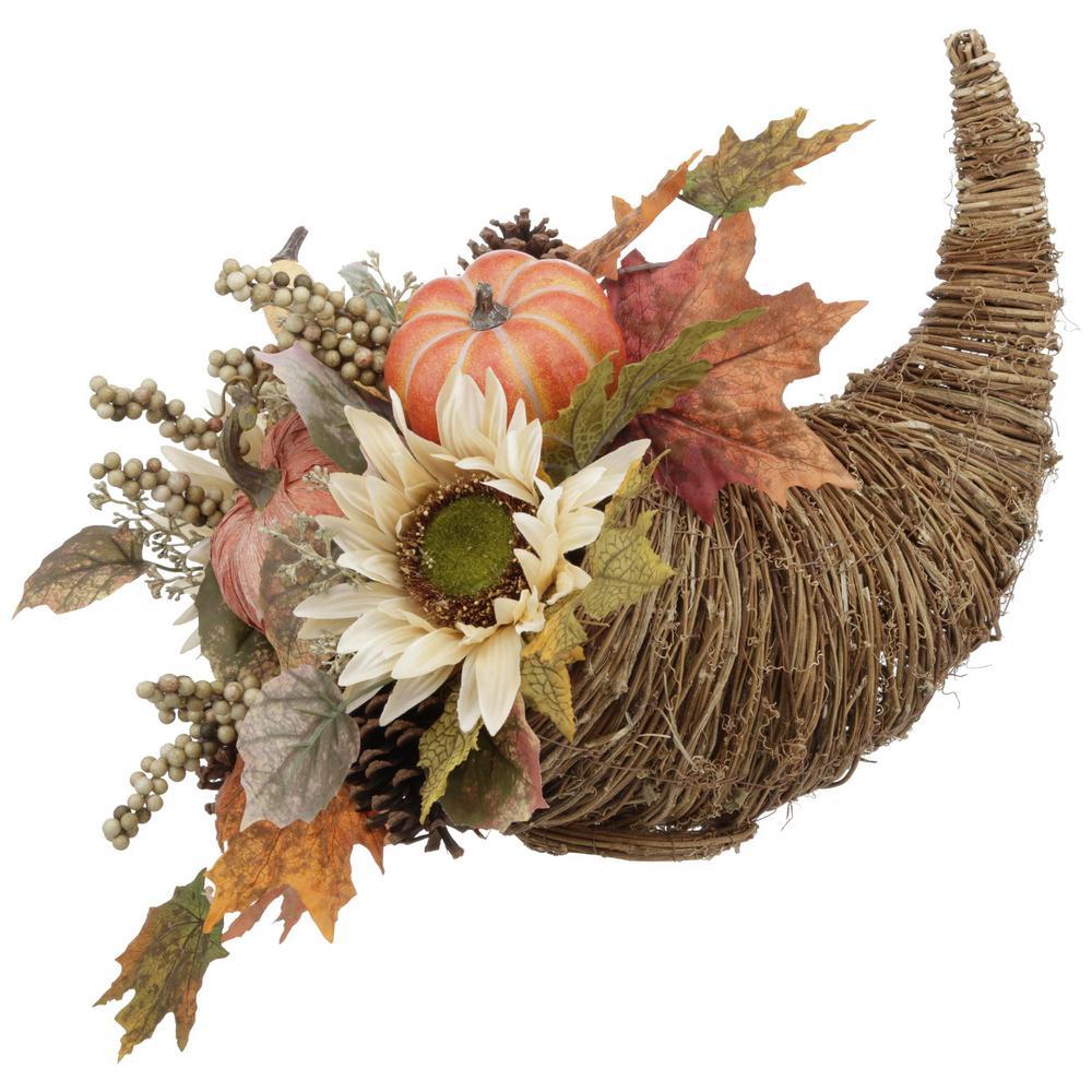 Indoor Tabletop Sunflower Pumpkin Cornucopia