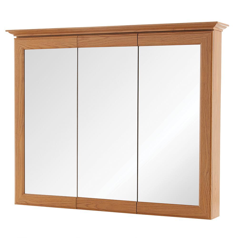 37 in. W x 30 in. H Fog Free Framed Surface-Mount Tri-View Bathroom Medicine Cabinet in Oak