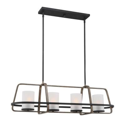4-Light Black Wood Tone Linear Chandelier with Etched Seedy Glass Shades