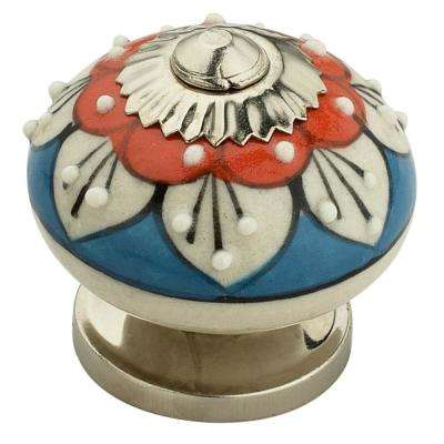 Stone Pattern Round 1-4/7 in. (40 mm) Red and Blue Cabinet Knob