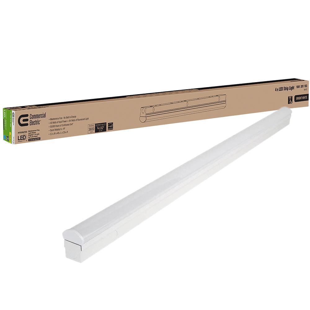 4 ft. 40-Watt Direct Wire Intergrated LED White Strip Light Fixture 3600 Lumens 4000K Bright White