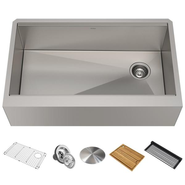 Kore Workstation Farmhouse/Apron-Front Stainless Steel 33 in. Single Bowl Kitchen Sink with Accessories