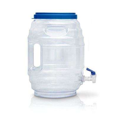 Vitrolero Aguas Frescas Tapadera 640 oz. Clear Plastic Water Dispenser with Blue Lid and Blue Snap Spigot
