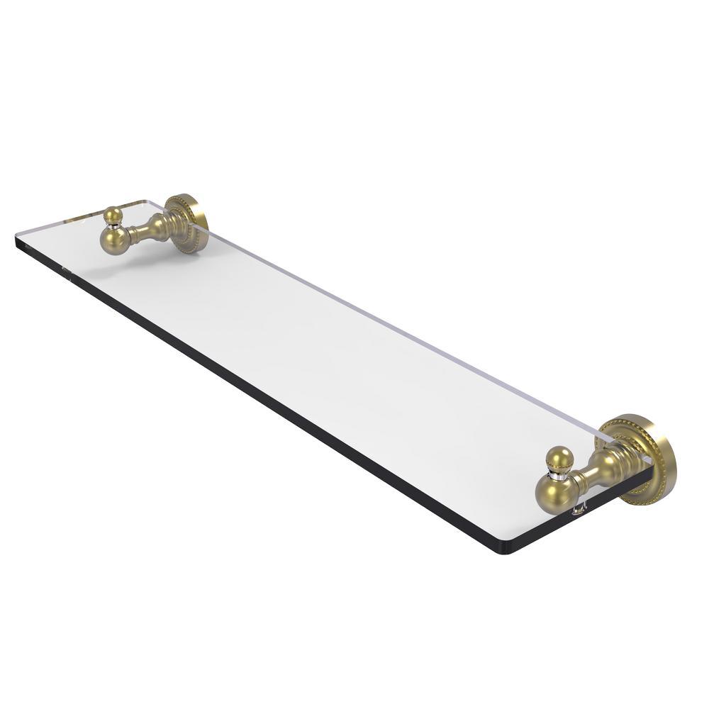 Allied Brass Dottingham 22 in. L  x 3 in. H  x 5 in. W Clear Glass Vanity Bathroom Shelf in Satin Brass