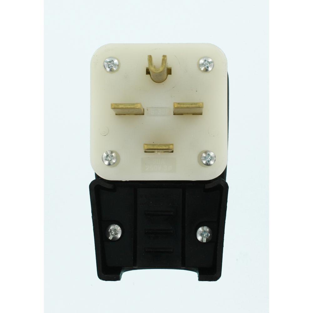Leviton 30 Amp 250 Volt Straight Blade Grounding Angle Plug Black Center Wiring Further Nema 6 30r Diagram In Addition White