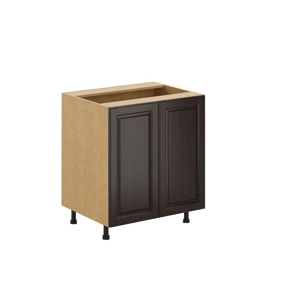 Eurostyle Ready to Assemble 30x34.5x24.5 in. Naples Full Height Base Cabinet in Maple Melamine and Door in Dark Brown