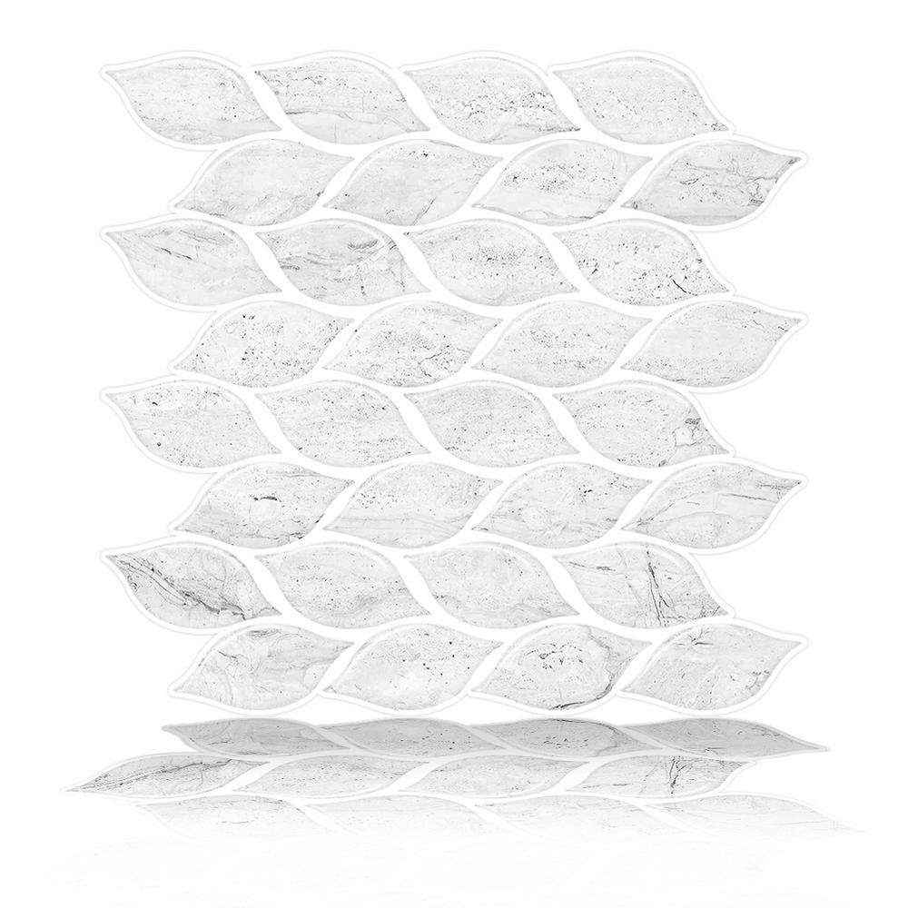 Tic Tac Tiles Foglia White 10 in. W x 10 in. H Peel and Stick Decorative Mosaic Wall Tile Backsplash