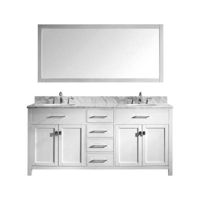 Caroline 72 in. W Bath Vanity in White with Marble Vanity Top in White with Round Basin and Mirror