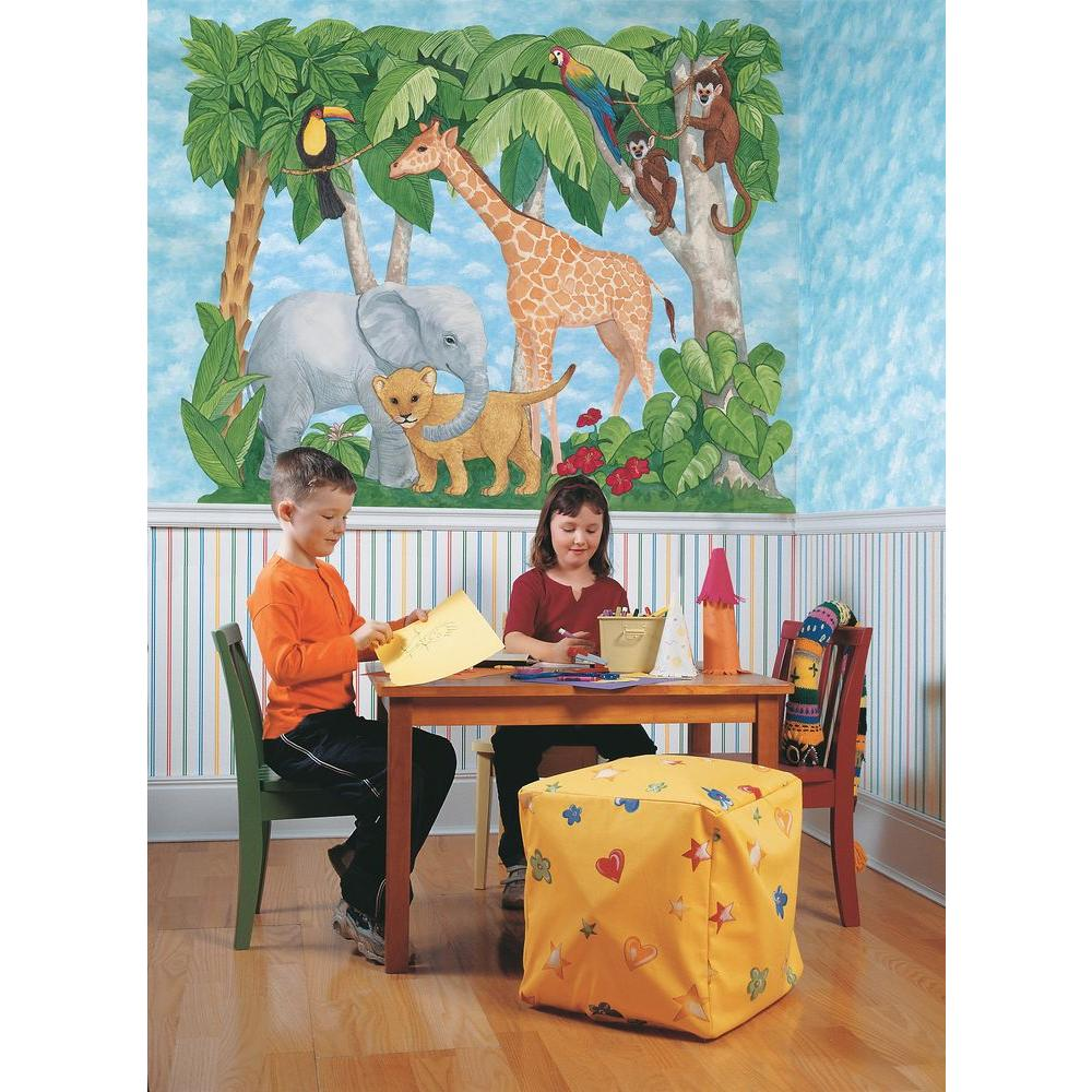 Brewster 77 in. x 89 in. Baby Animals Jungle Mural