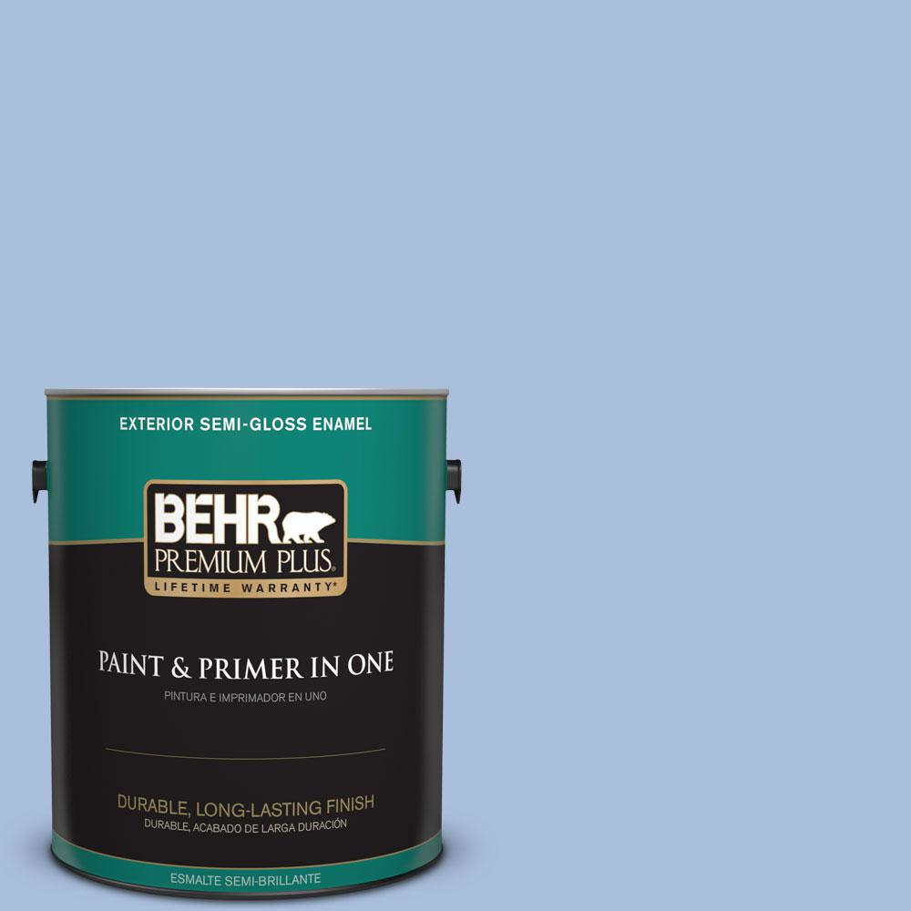 BEHR Premium Plus 1-gal. #580D-4 Skysail Blue Semi-Gloss Enamel Exterior Paint