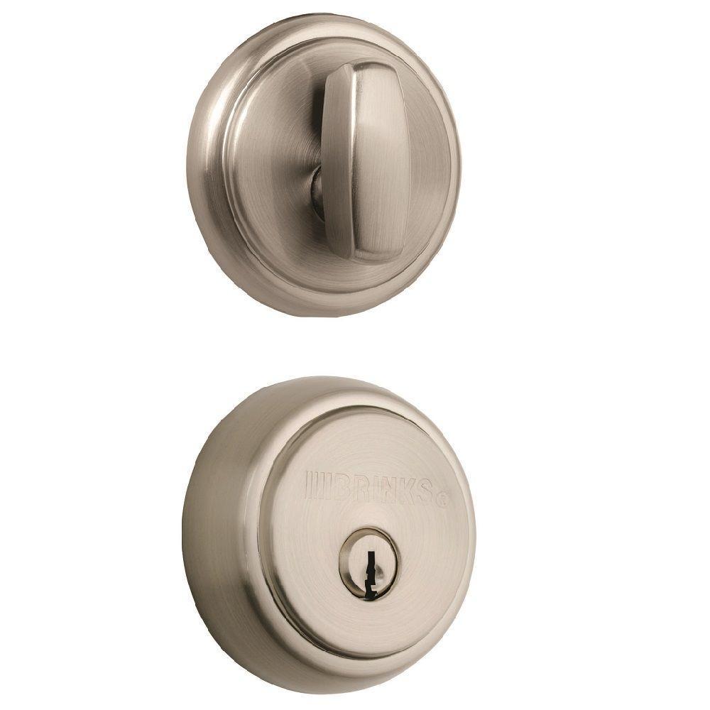 Brinks Home Security Amberhall Single Cylinder Satin Nickel Push Pull Rotate Deadbolt