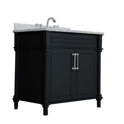 Charmant D Vanity In Black With Marble Top