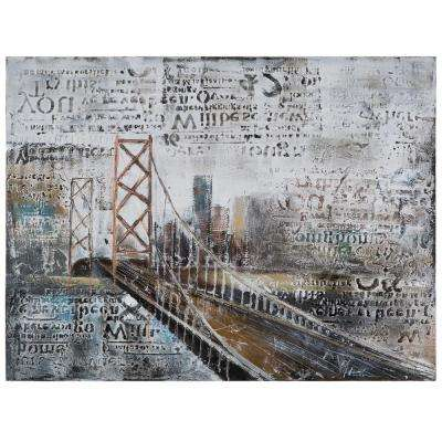 "36 in. x 47 in. ""Across The Bridge"" Hand Painted Contemporary Artwork"
