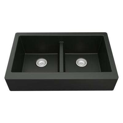 Retrofit Farmhouse Apron Front Quartz Composite 34 in. Double Bowl Kitchen Sink in Black