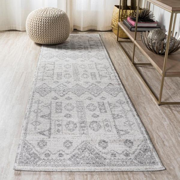Jonathan Y Idris Tribal Diamond Geometric Gray Beige 2 Ft X 8 Ft Runner Rug Moh304a 28 The Home Depot