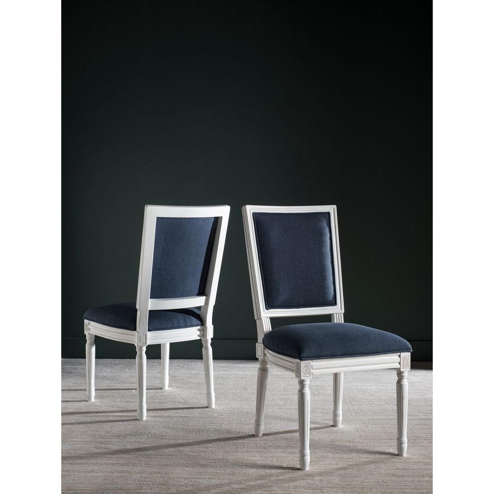 Safavieh Buchanan Navy And Cream Linen Dining Chair Set Of 2 Fox6229c Set2 The Home Depot
