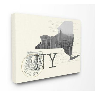 """30 in. x 40 in. """"New York Black and White Photograph on Cream Paper Postcard"""" by Daphne Polselli Canvas Wall Art"""
