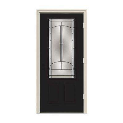 36 in. x 80 in. 3/4 Lite Idlewild Black w/ White Interior Steel Prehung Left-Hand Outswing Front Door w/Brickmould